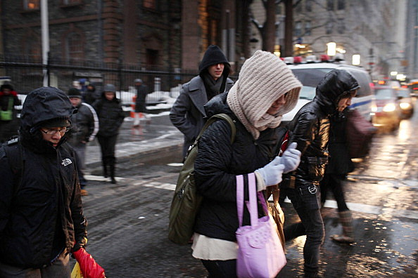 People Bundled Up Against The Cold