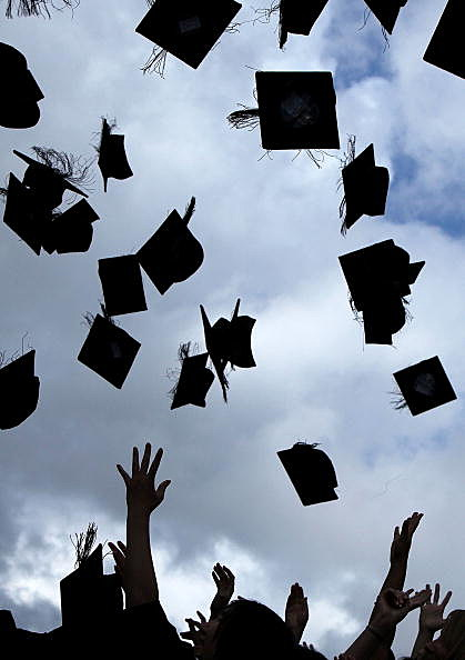 graduation hats (Photo by Christopher Furlong/Getty Images)