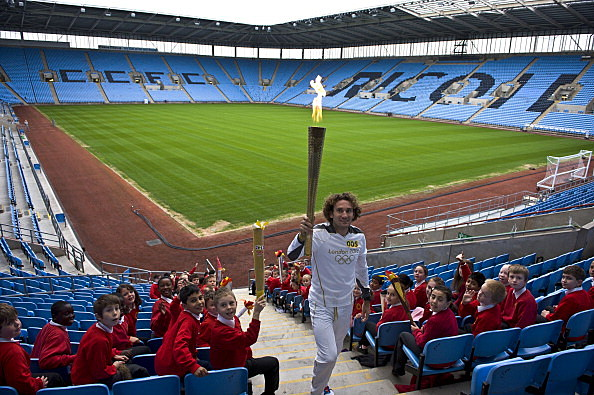 The Olympic Torch Continues Its Journey Around The UK  (Photo by LOCOG via Getty Images)