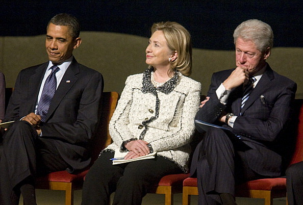Pres. Obama, Hillary Clinton, Bill Clinton (Photo by Kristoffer Tripplaar-Pool/Getty Images)