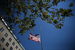 Flags Flown At Half Staff At The State Department After Ambassador Killed In Libya