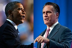 obama-romney Joe Raedle getty images - David Calvert getty images