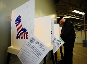 voting booth (Photo by Kevork Djansezian/Getty Images)