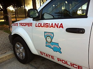 LA State Police vehicle (photo by KPEL)