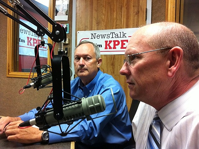 Terry Huval and Joey Durel, KPEL Stock Photo
