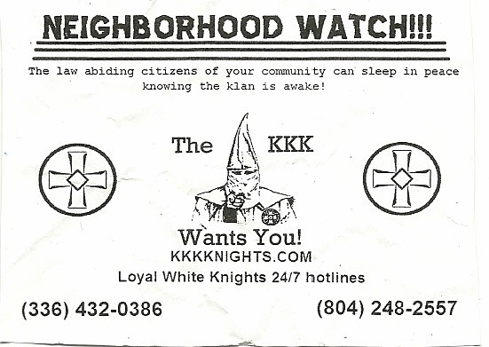 KKK Flyer Distributed in Eunice, photo courtesy of the Eunice Police Department