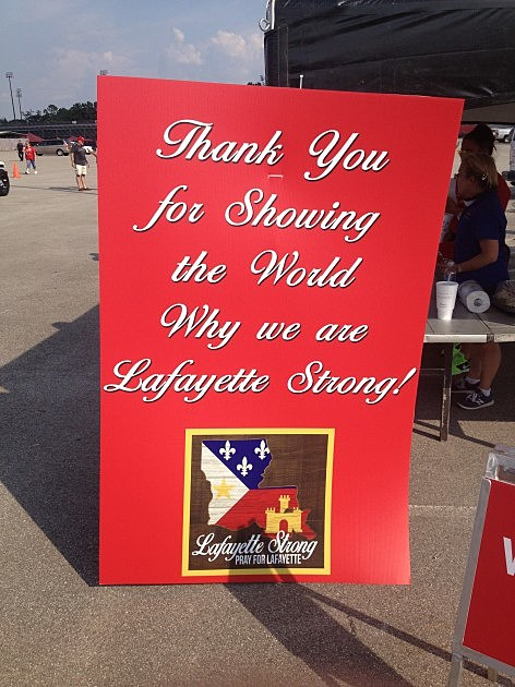 Lafayette Strong Banner KPEL Photo