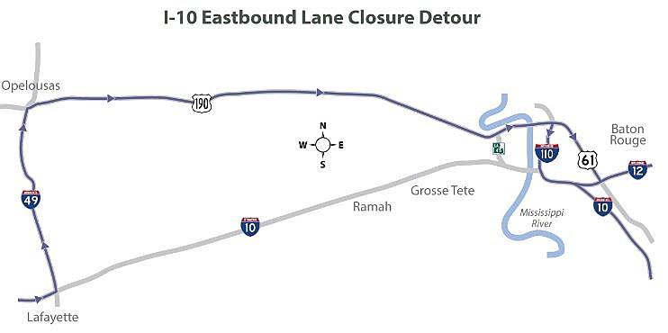 I-10 Eastbound Lane Closure Detour