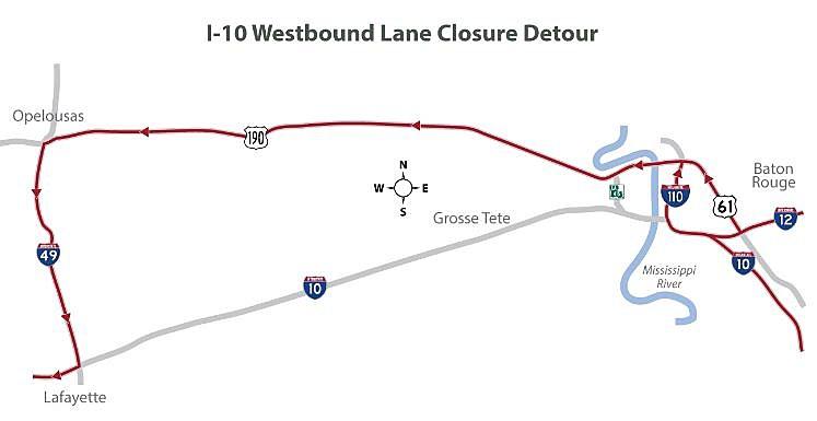 I-10 Westbound Lane Closure Detour
